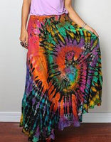 Womens Panel Tie Dye Elastic Waist Long Skirt