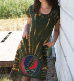 Cotton Cap Sleeve Steal Your Face Tie Dye Women's Dress