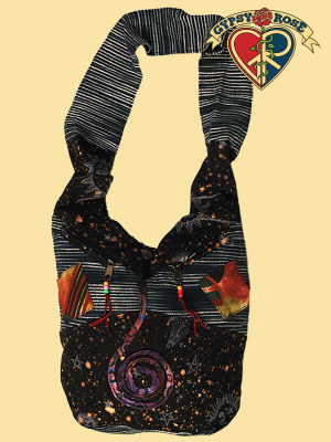 Dark Star Printed Patchwork Cotton Hobo Bag
