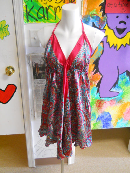 Womens Silky Paisley Mini Dress