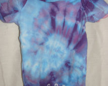 Blue Purple Spiral Tie Dye Onesie