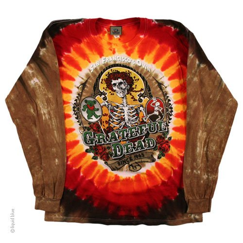 Mens Grateful Dead Tie-Dye Bay Area Beloved Long Sleeve T-Shirt
