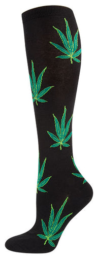 Womens Pot Leaves Knee High Socks