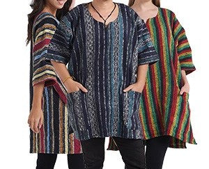 100% Cotton Unisex Baja Poncho With Pockets