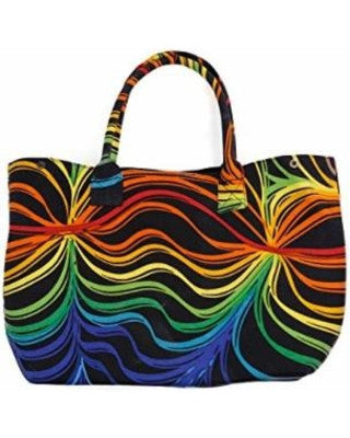 Rainbow Ripple Tapestry Tote Bag