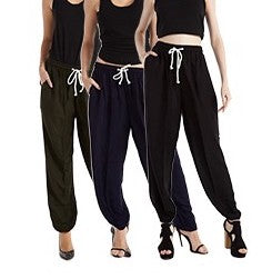 Solid Color Rayon Drawstring Harem Pants