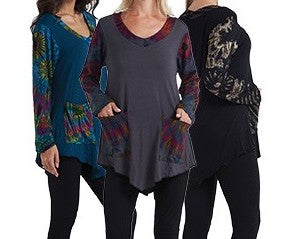 Women's Long Tie Dye Sleeve Tunic With Pockets