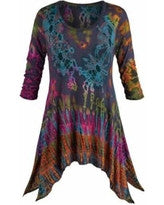 3/4 Sleeve Tie Dye Tunic W/ Pockets