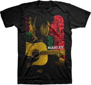 Bob Marley Pose Playing Rasta Guitar T-Shirt