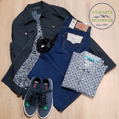 Men's outfit, jeans and jacket