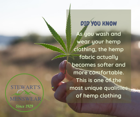 A picture of a person holding a hemp plant. Text overlaid Did you know? As you wash and wear your hemp clothing, the hemp fabric actually becomes softer and more comfortable. This is one of the most unique qualities of hemp clothing.
