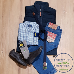 Men's outfit, vest and jeans