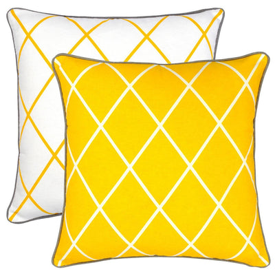 Diamond Accent Cushion Covers with Contrast Piped Edges (Pack of 2) - TreeWool