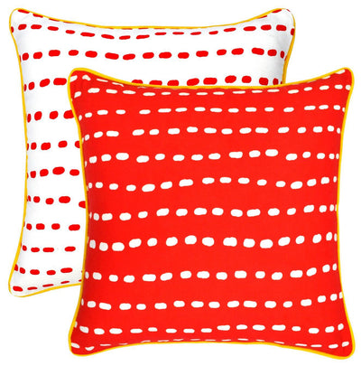 Long Dots Accent Cushion Covers with Contrast Piped Edges (Pack of 2) - TreeWool