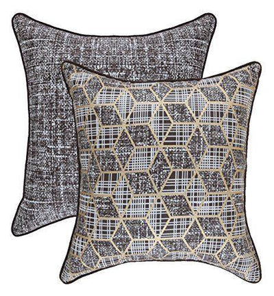 Golden Foil Hexagon Accent Decorative Cushion Covers (Pack of 2) - TreeWool