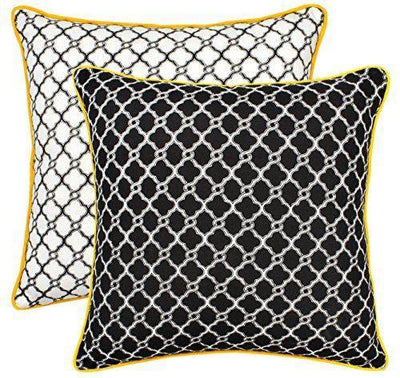 Trellis Accent Decorative Cushion Covers with Piped Edges (Pack of 2) - TreeWool