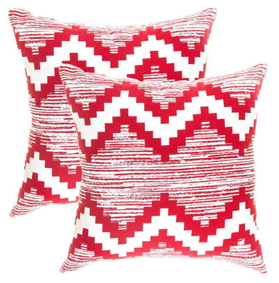 Ikat Chevron Accent Decorative Cushion Covers (Pack of 2) - TreeWool