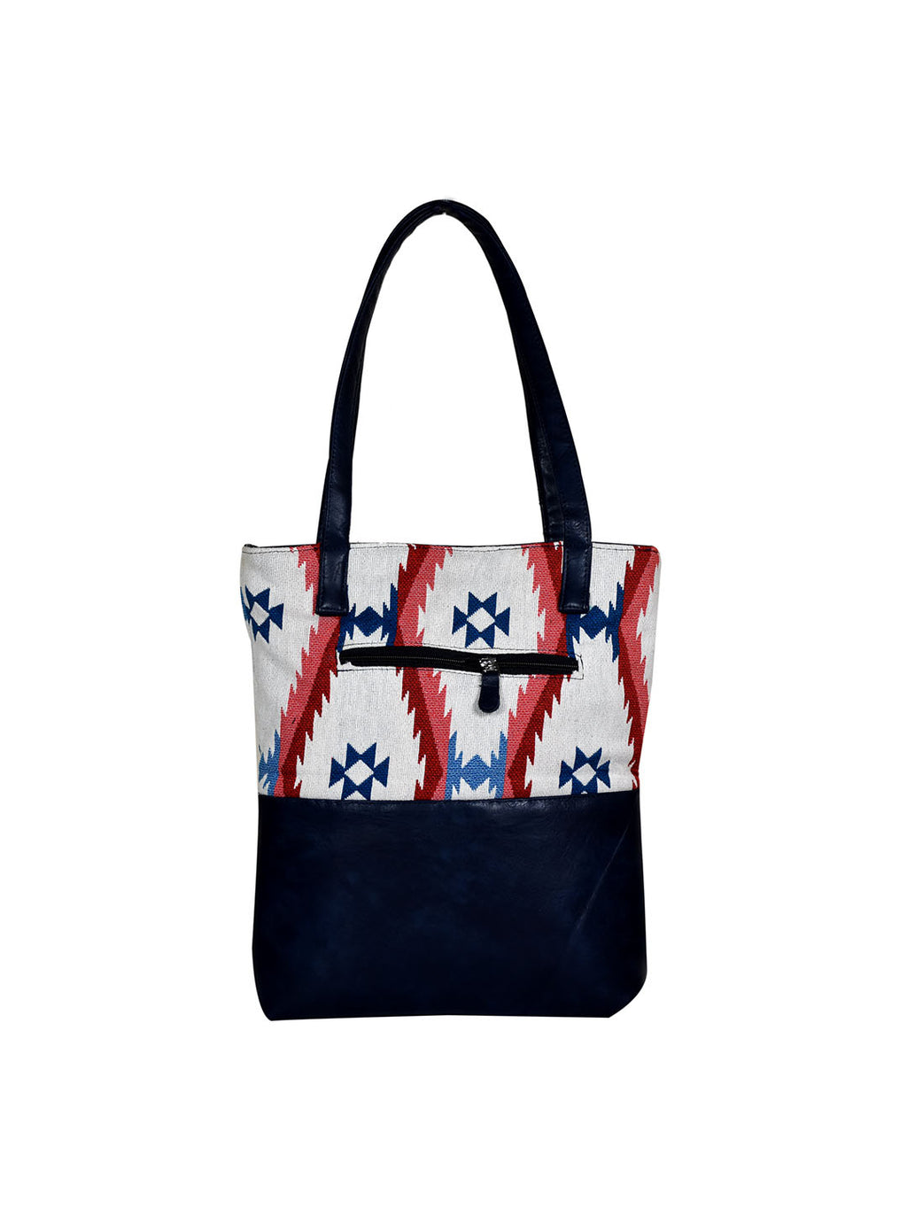 Blue-Red Aztec Handloom Split Tote