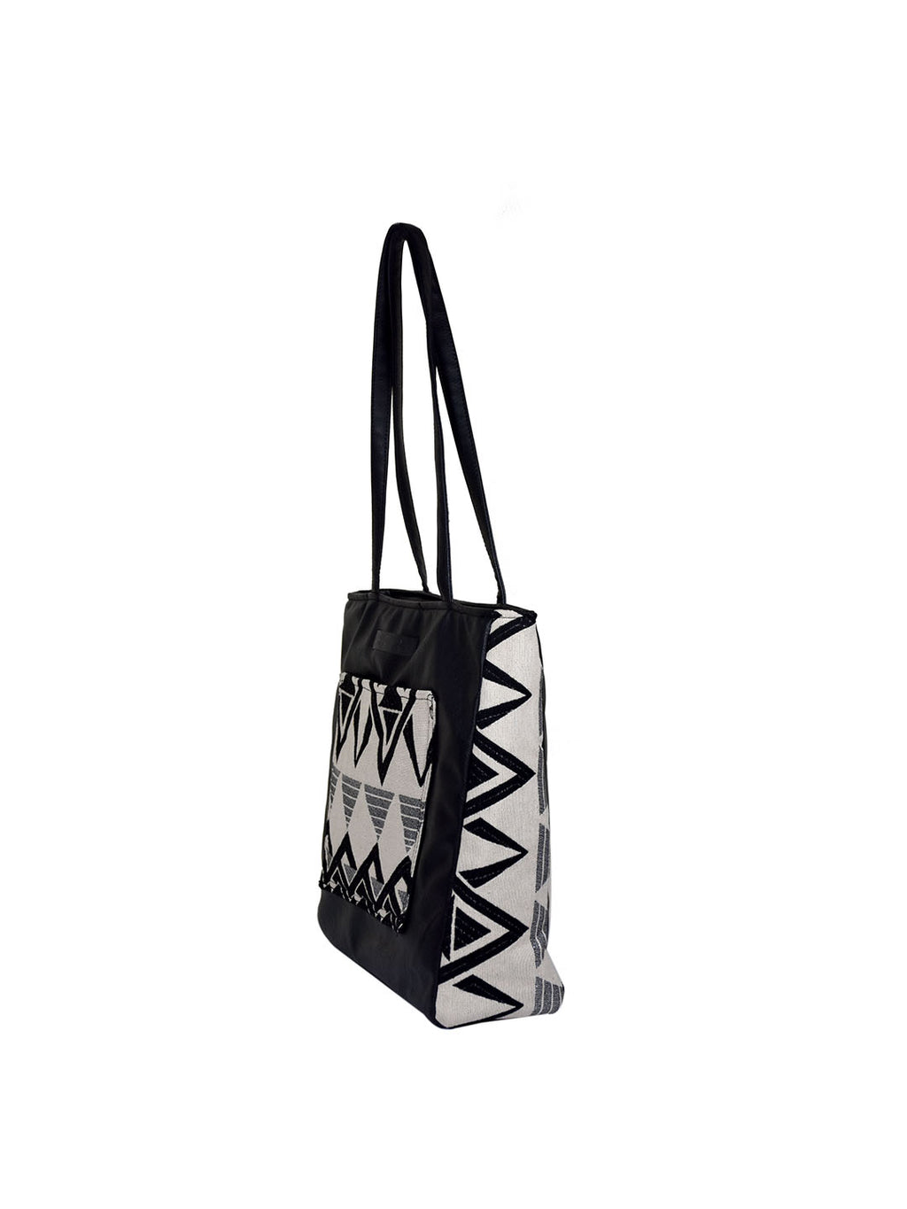 Monochrome Handloom Front Pocket Tote