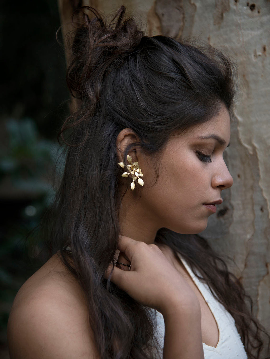 Gold Plated Floral Carved Earrings