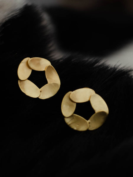 Gold Plated Leaf Disc Studs