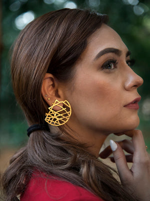 Gold Plated Abstract Halfmoon Earrings