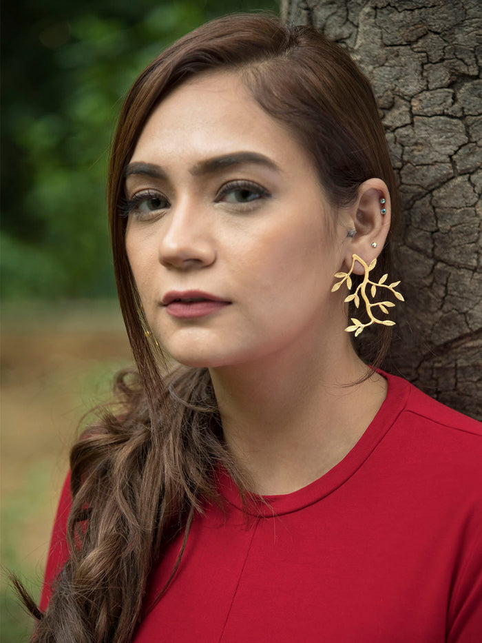 Gold Plated Carved Shoot Earrings
