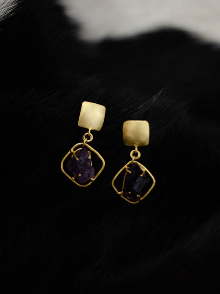 Gold Plated Amethyst Drop Earrings