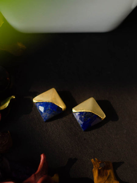 Gold Plated Lapis Studs