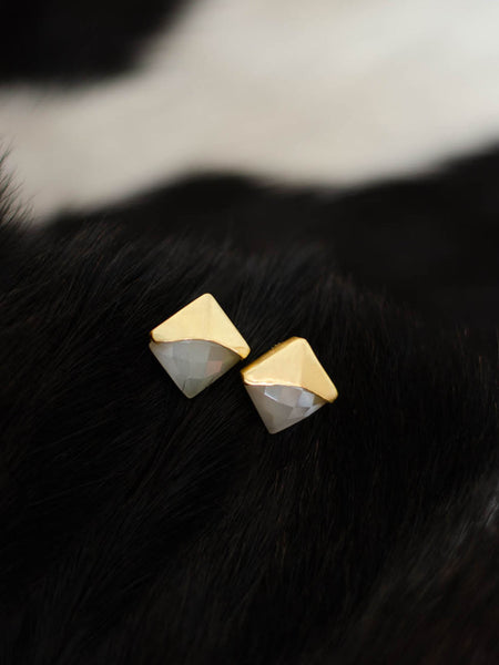 Gold Plated Moonstone Studs