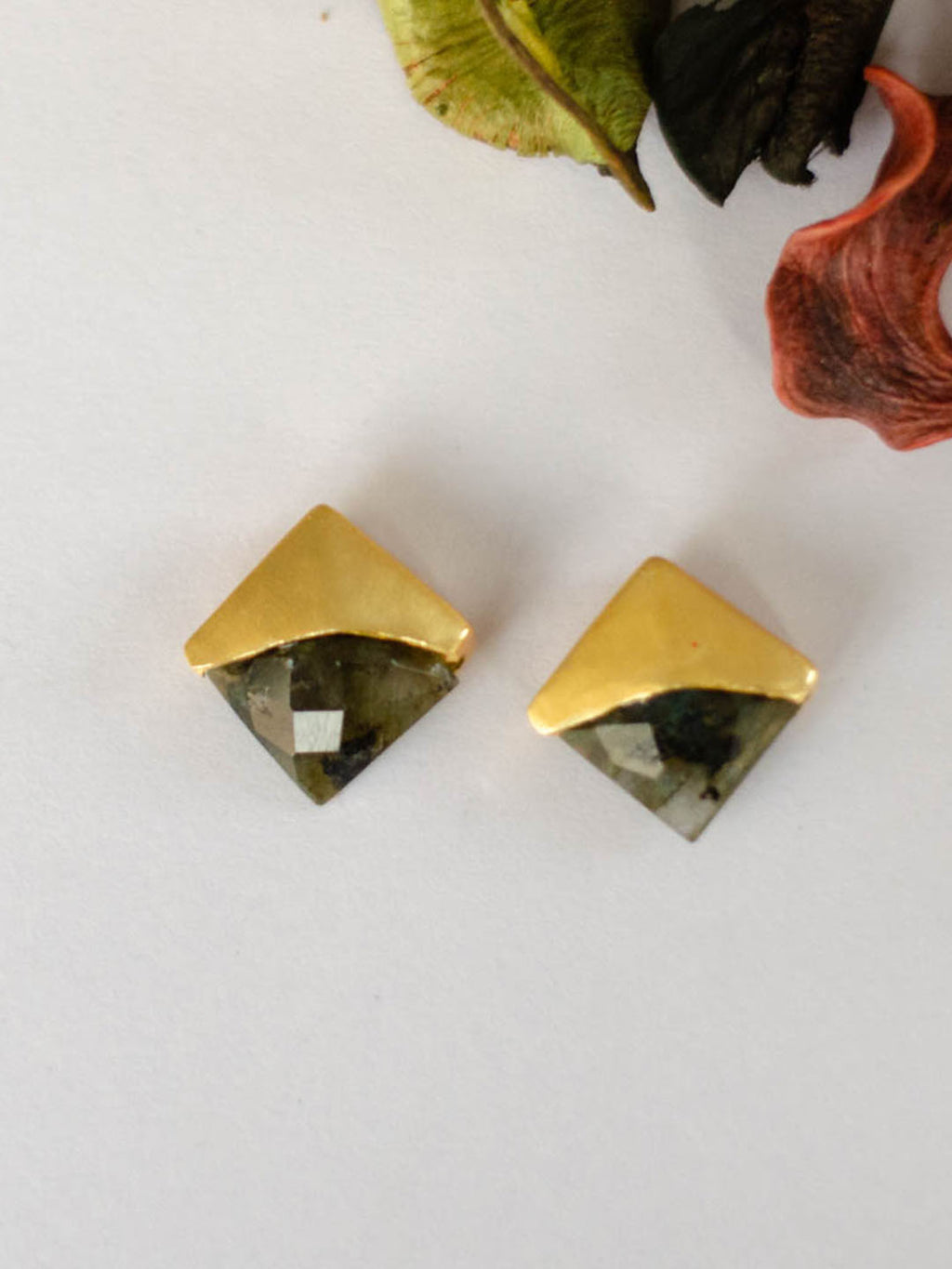 Gold Plated Labrodorite Studs