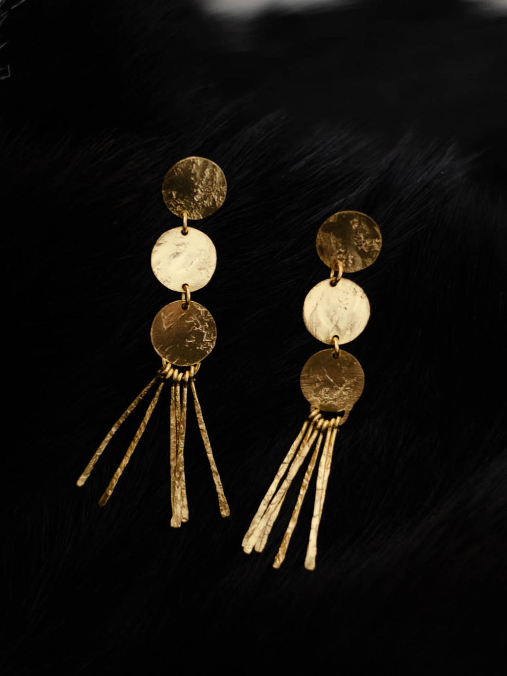 Gold Plated Disc Tassel Earrings