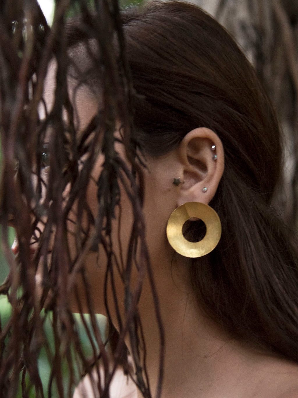 Gold Plated Flat Disc Earrings
