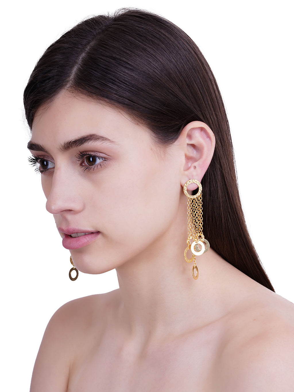 Gold Plated Ring Dangler Earrings