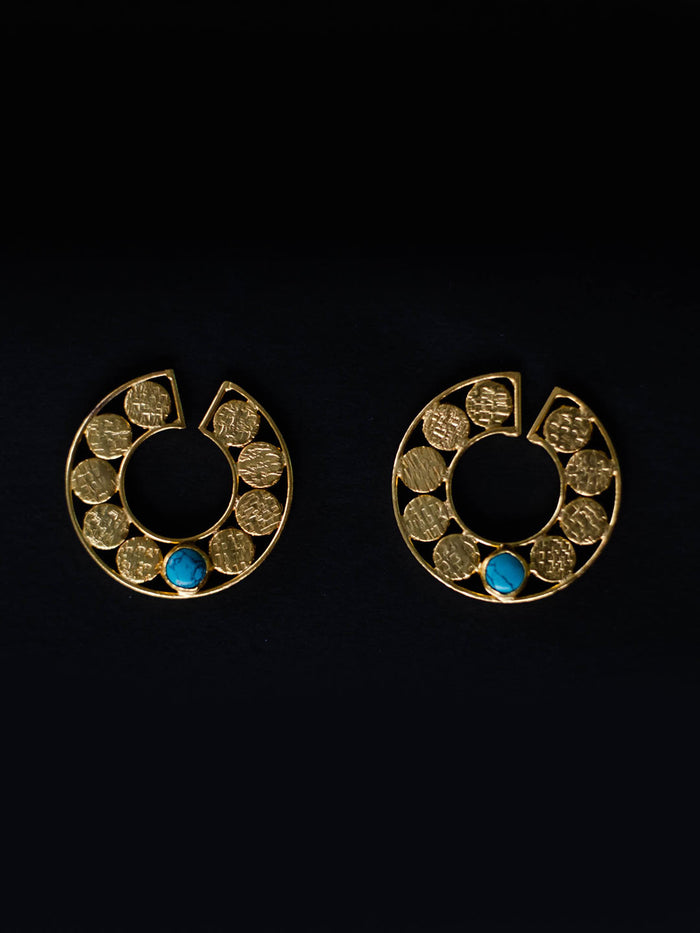 Gold Plated Turquoise Disc Earrings