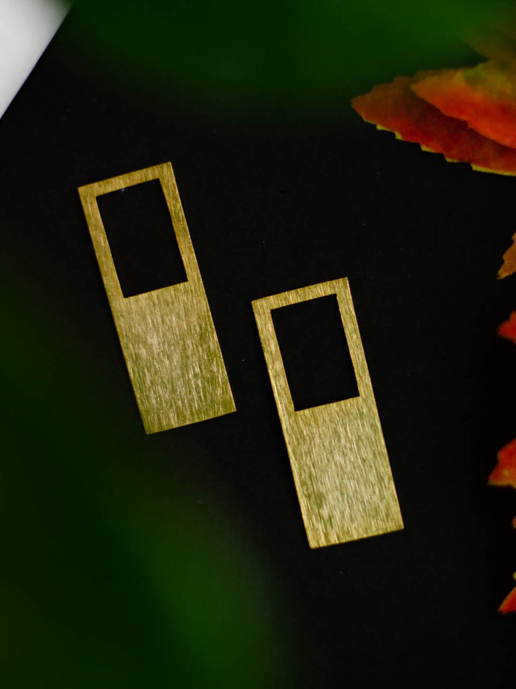 Gold Plated Rectangular Frame Earrings