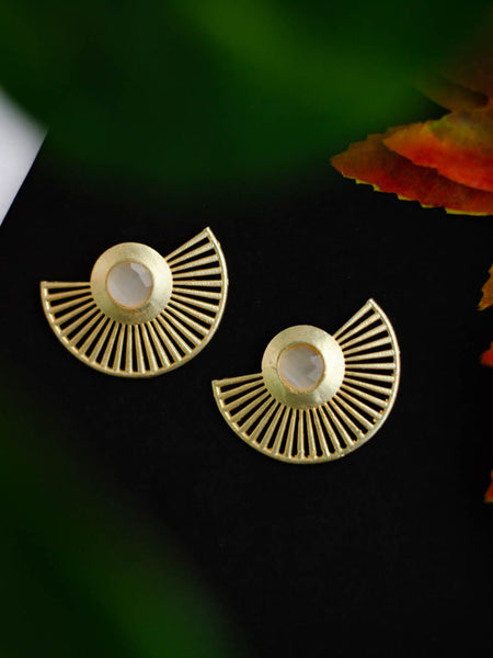 Gold Plated Moonstone Fan Earrings