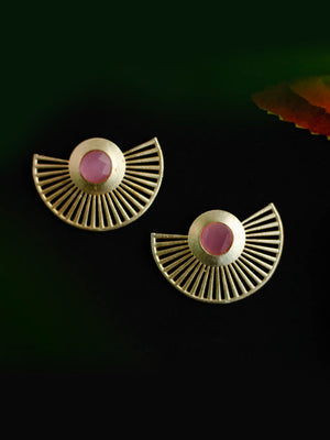 Gold Plated Rose Quartz Fan Earrings
