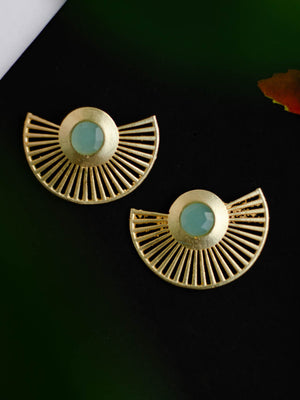 Gold Plated Aqua Chalcedony Fan Earrings
