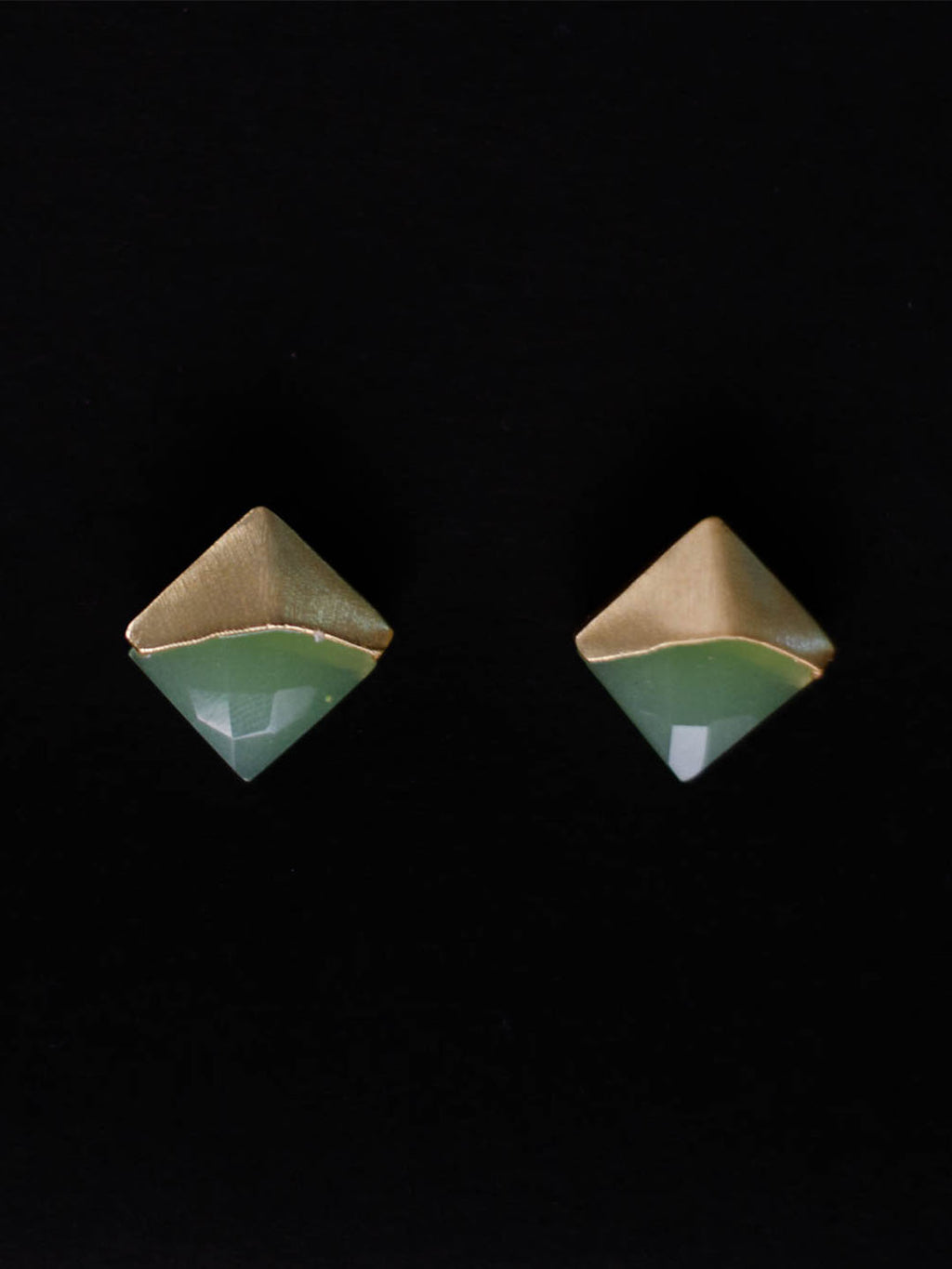 Gold Plated Lime Chalcedony Studs