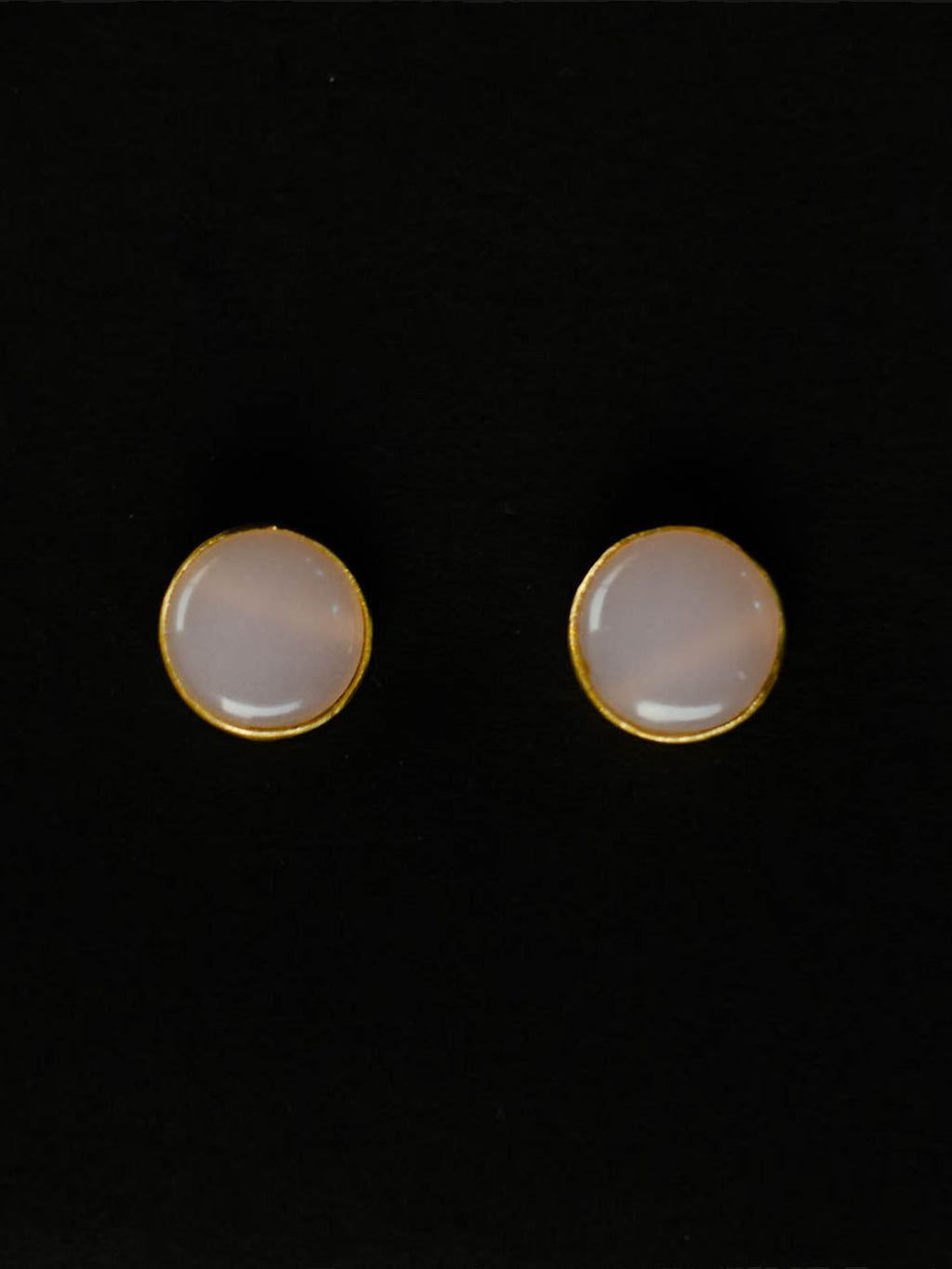 Gold Plated Rose Quartz Disc Studs