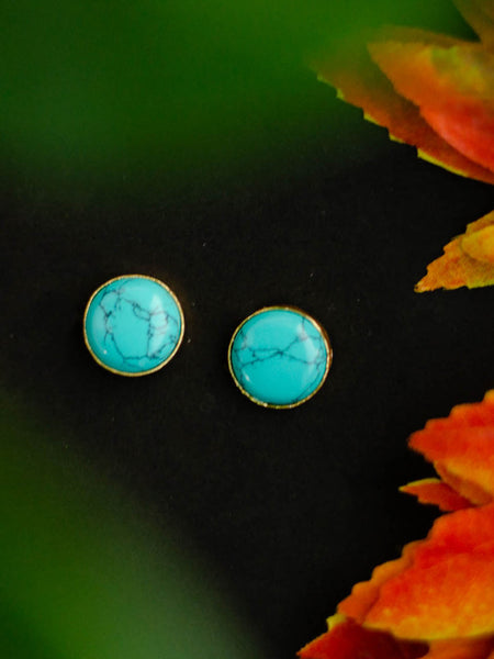 Gold Plated Turquoise Disc Studs