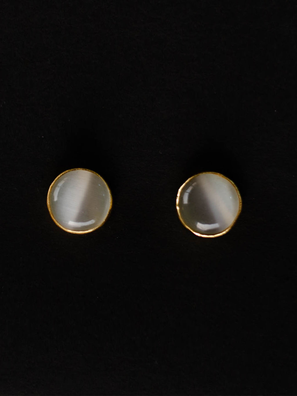 Gold Plated Moonstone Disc Studs