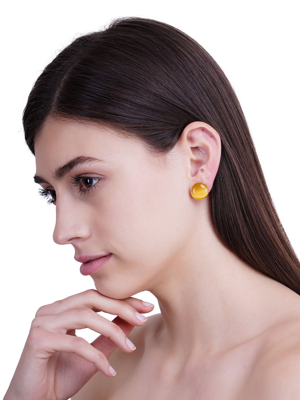 Gold Plated Yellow Onyx Disc Studs