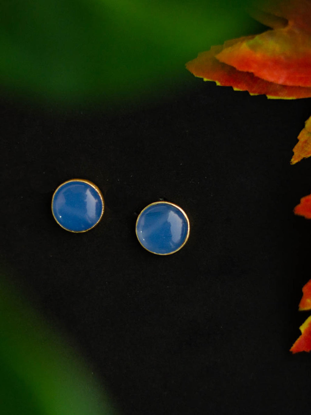 Gold Plated Blue Chalcedony Disc Studs