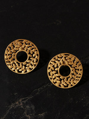 Gold Plated Carved Leaf Disc Earrings