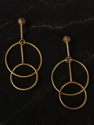 Gold Plated Coincentric Circle Danglers