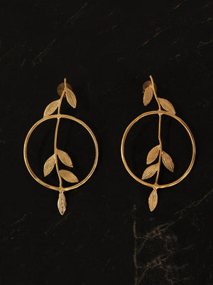 Gold Plated Carved Shoot Danglers