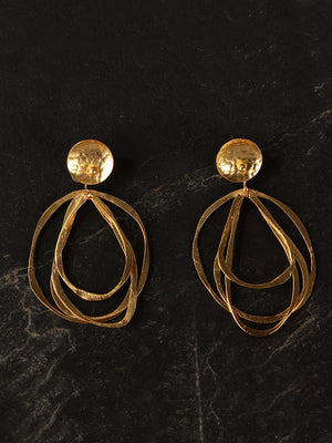Gold Plated Asymmetric Circular Danglers