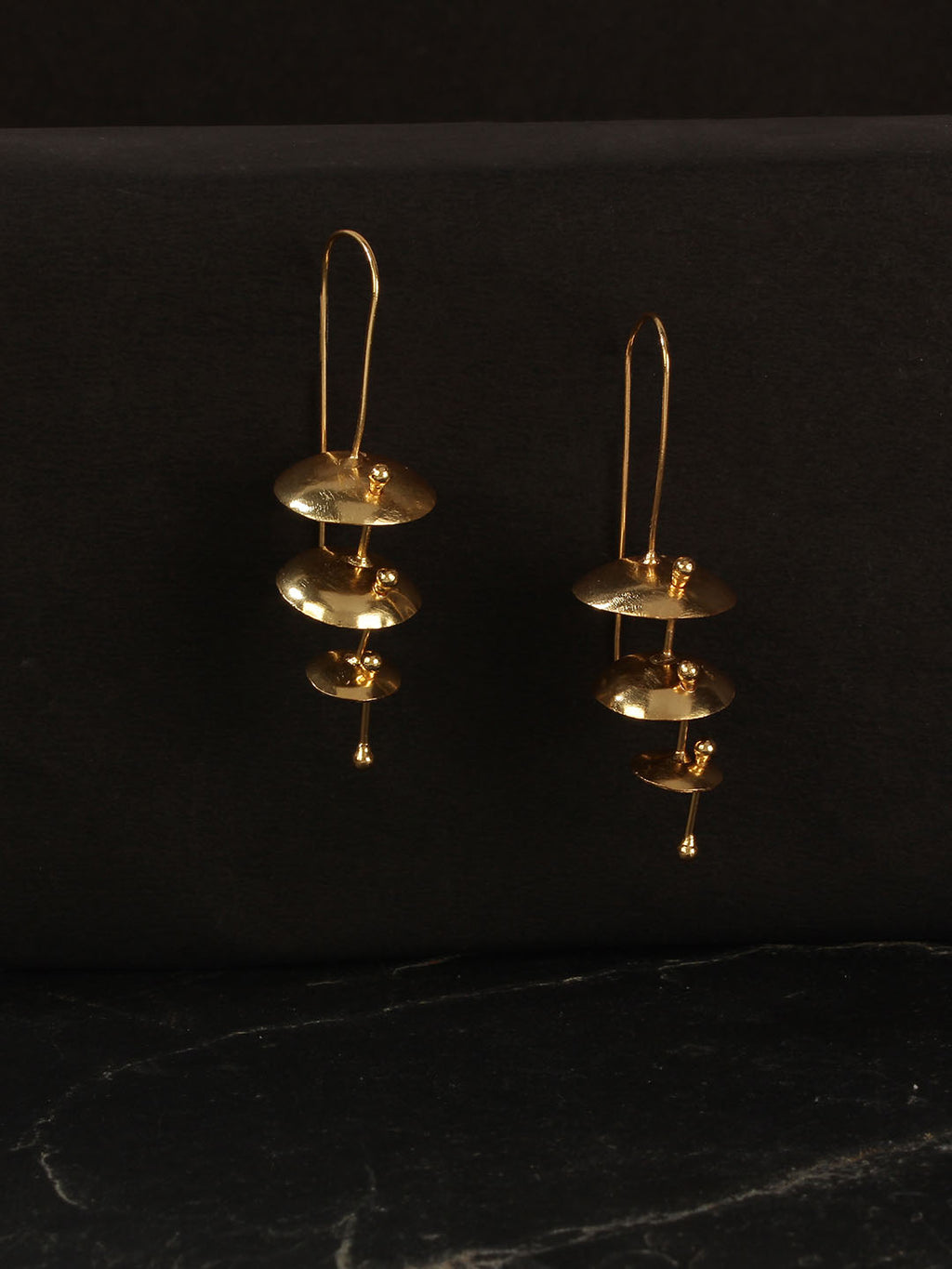 Gold Plated Temple Drop Earrings